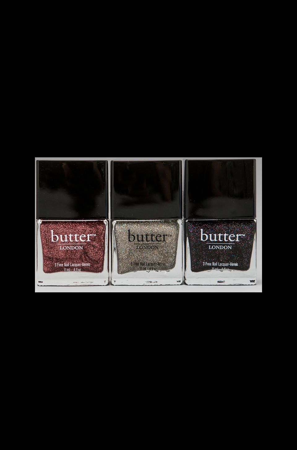 butter LONDON Holiday Glitter Trio Set in Rosie Lee/Fairy Cake/The Black Knight