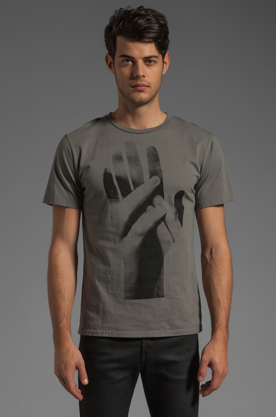 BLOOD IS THE NEW BLACK Holding Hands MC Tee in Charcoal Grey