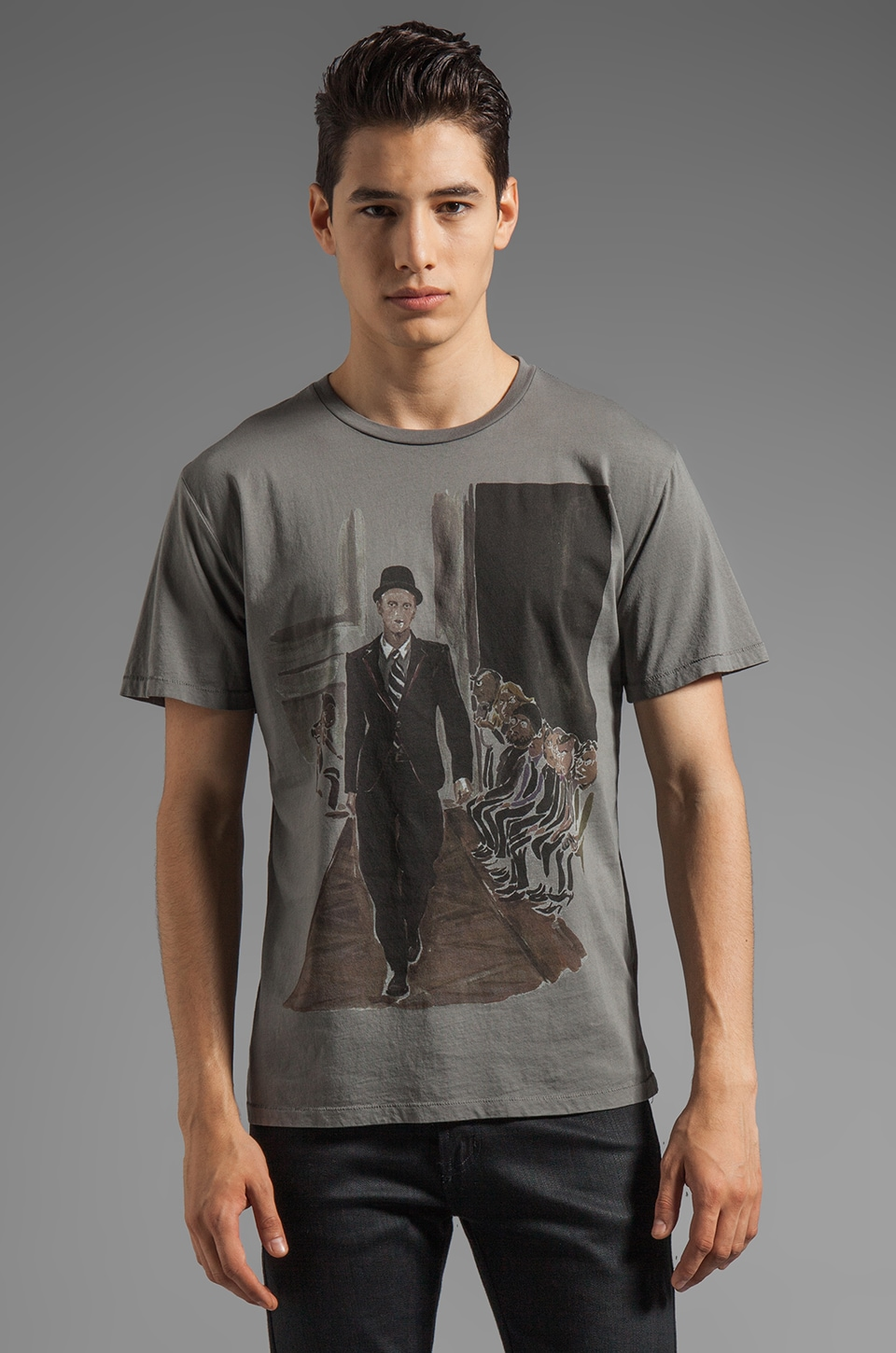 BLOOD IS THE NEW BLACK Pour Homme MC Tee in Charcoal Grey