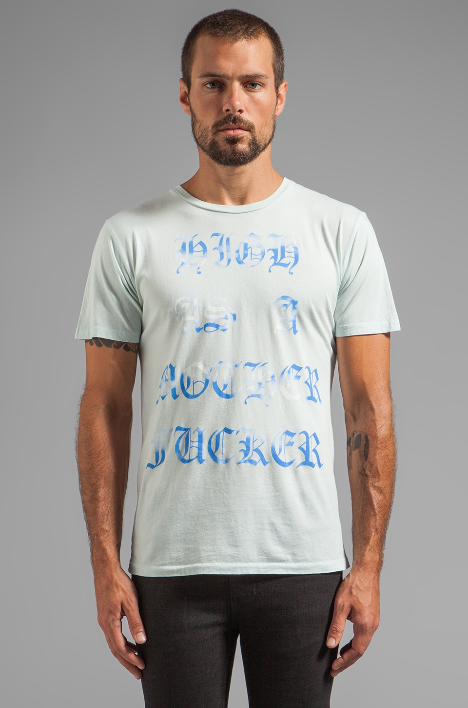 BLOOD IS THE NEW BLACK High As A Mother Tee in Pastel Blue