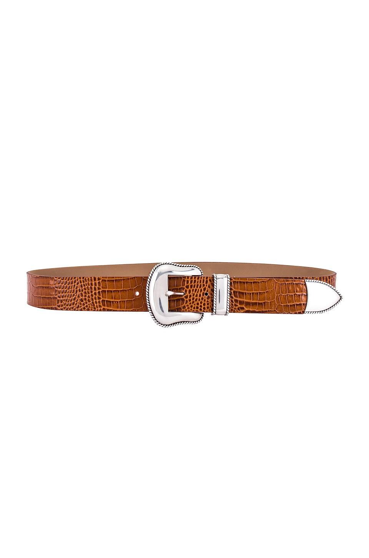 B-Low the Belt Villian Croco Belt in Cognac & Silver
