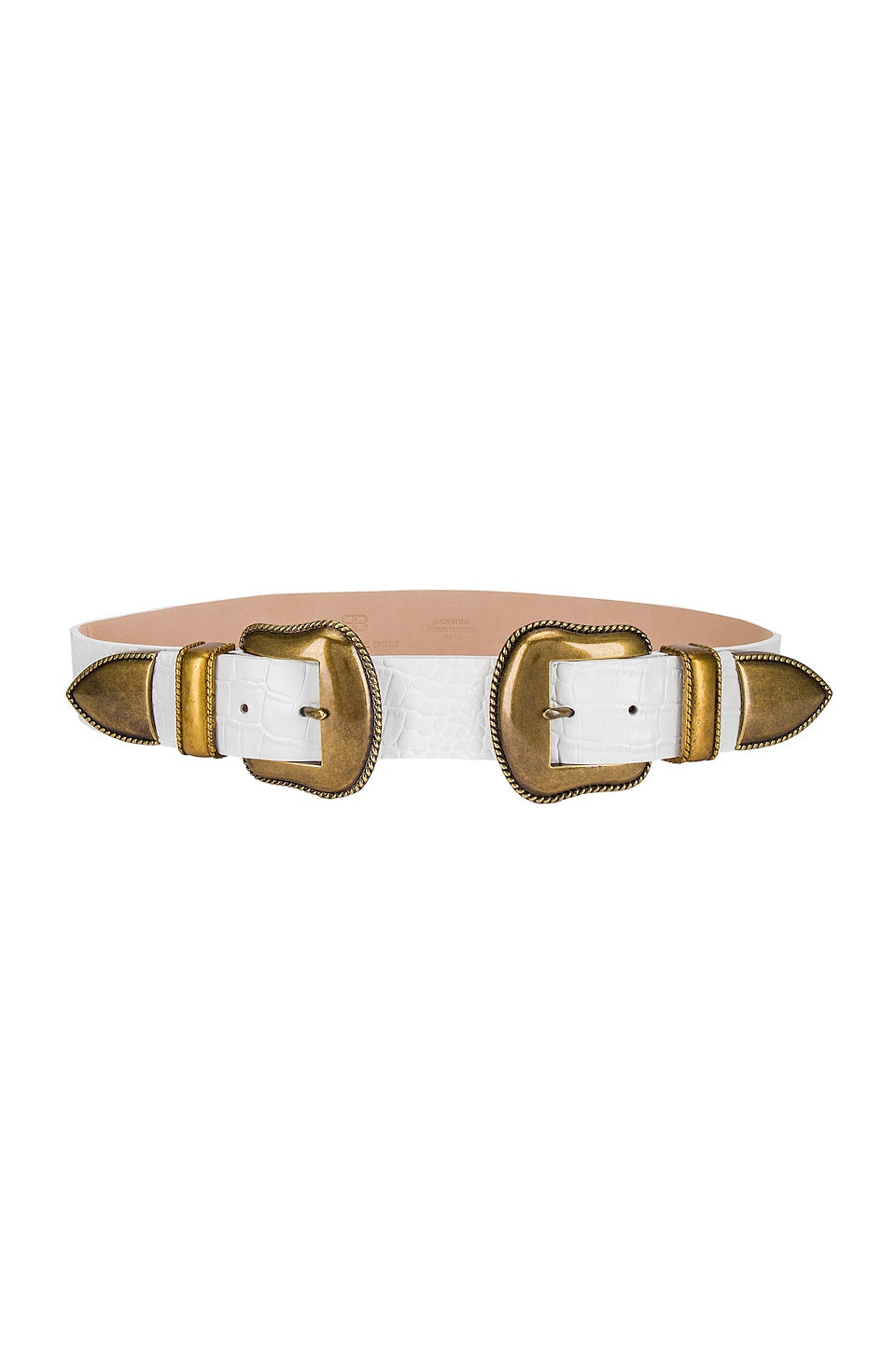 B-Low the Belt Rouge Croco Belt in White & Brass