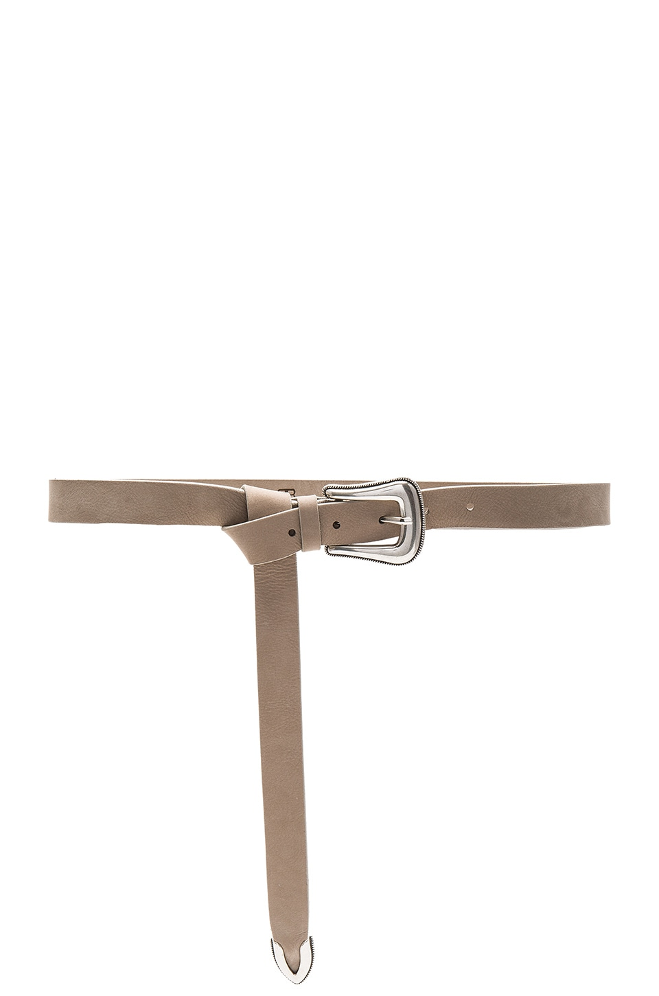 B-Low the Belt Taos Mini Nubuck Belt in Light Taupe & Silver