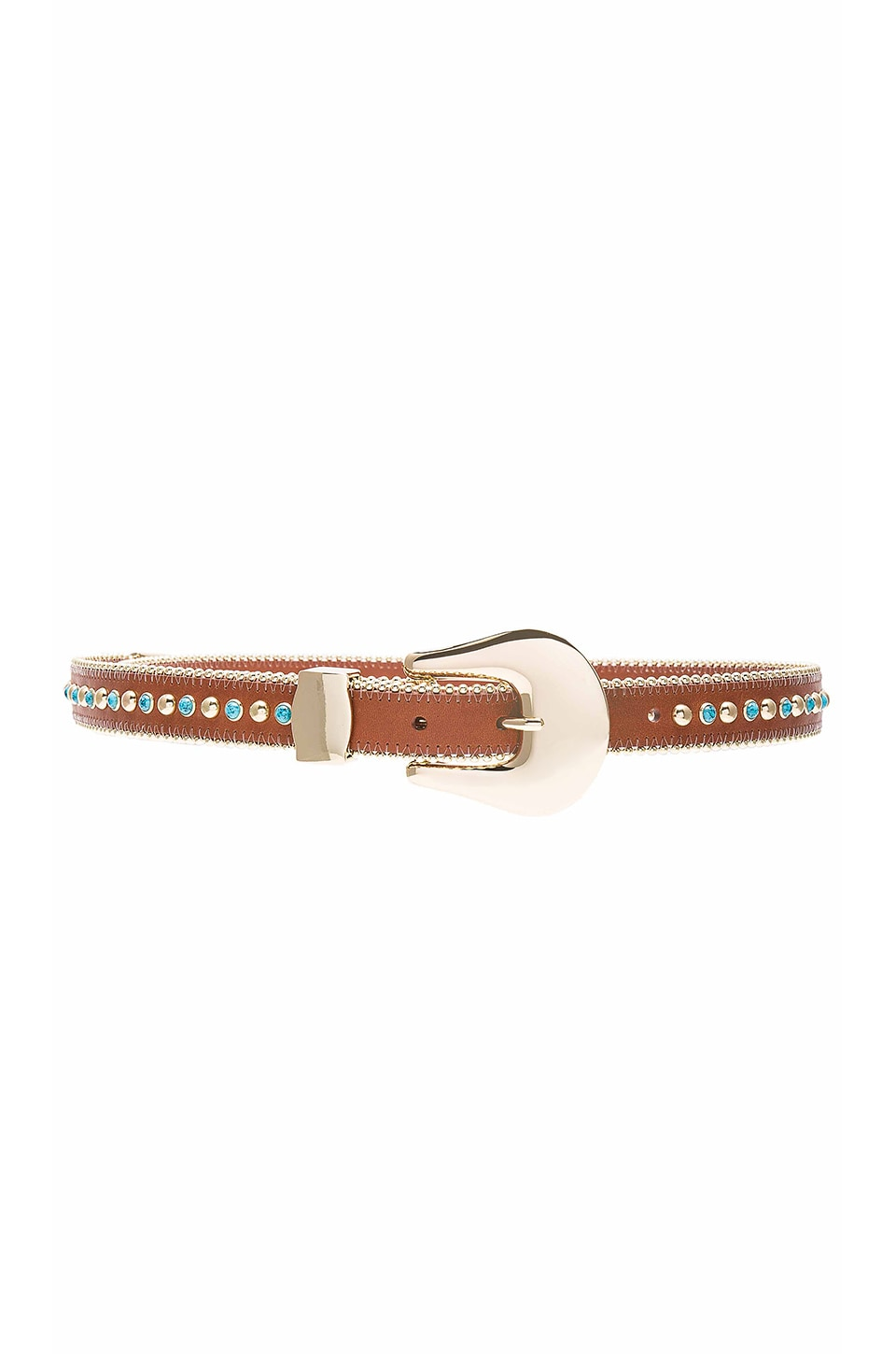 B-Low the Belt Barcelona Turquoise Belt in Cognac & Gold