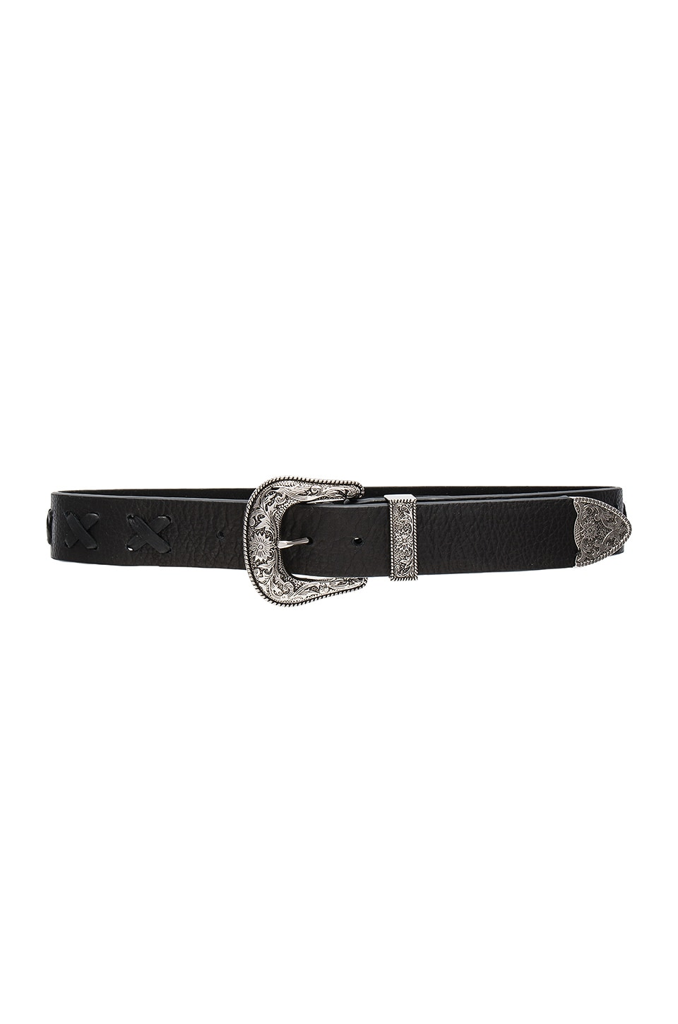 B-Low the Belt Frank Whip Belt in Black & Silver