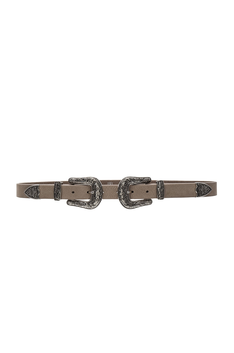 B-Low the Belt Baby Bri Bri Nubuck Belt in Light Taupe & Silver
