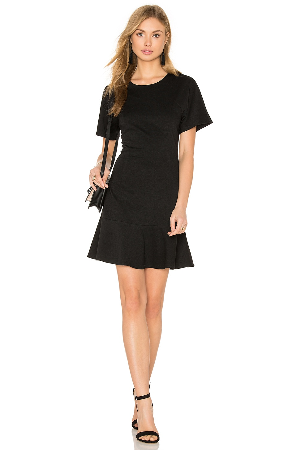 BLQ BASIQ Ponte Tee Flare Dress in Black