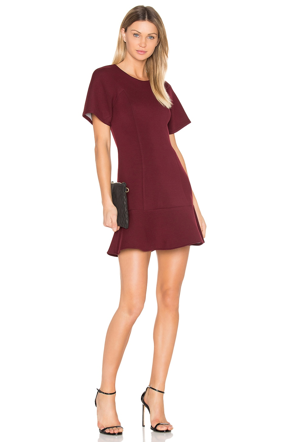 BLQ BASIQ Tee Flare Dress in Wine