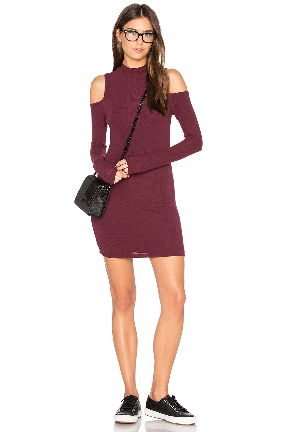 BLQ BASIQ Cold Shoulder Mini Dress in Burgundy