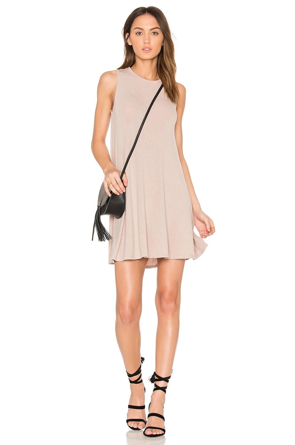 BLQ BASIQ Hacci Swing Dress in Tan