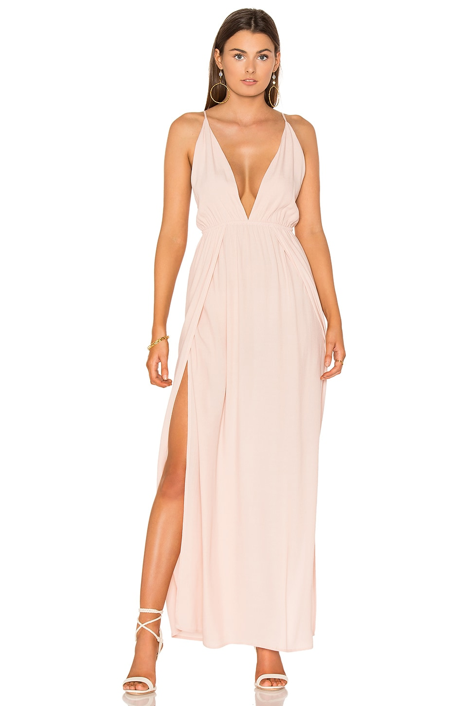 BLQ BASIQ Low Plunge Maxi Dress in Pale Blush