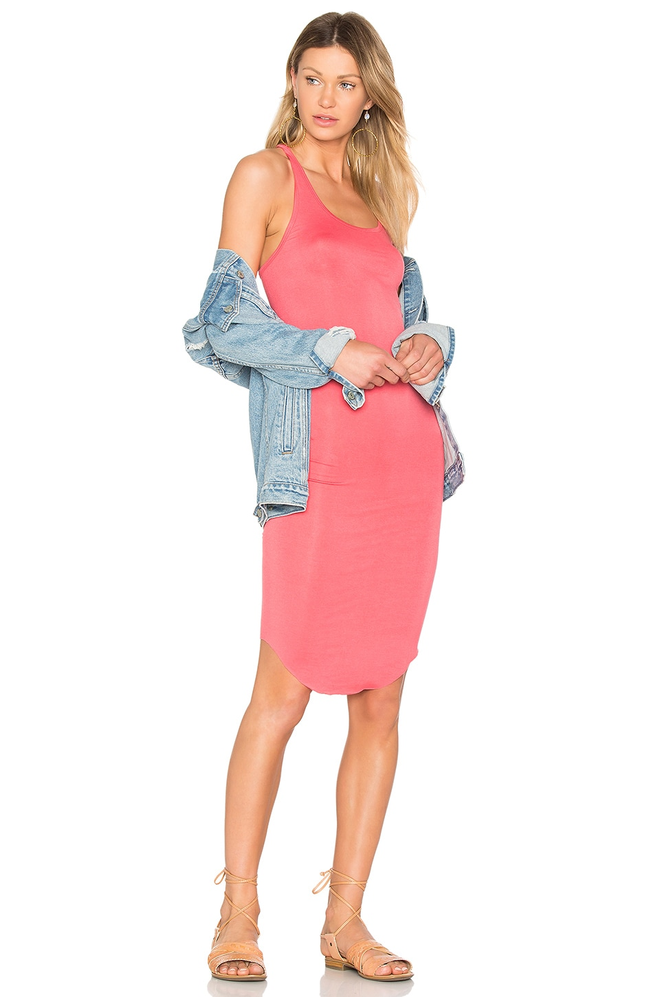 BLQ BASIQ Racer Tank Dress in Coral