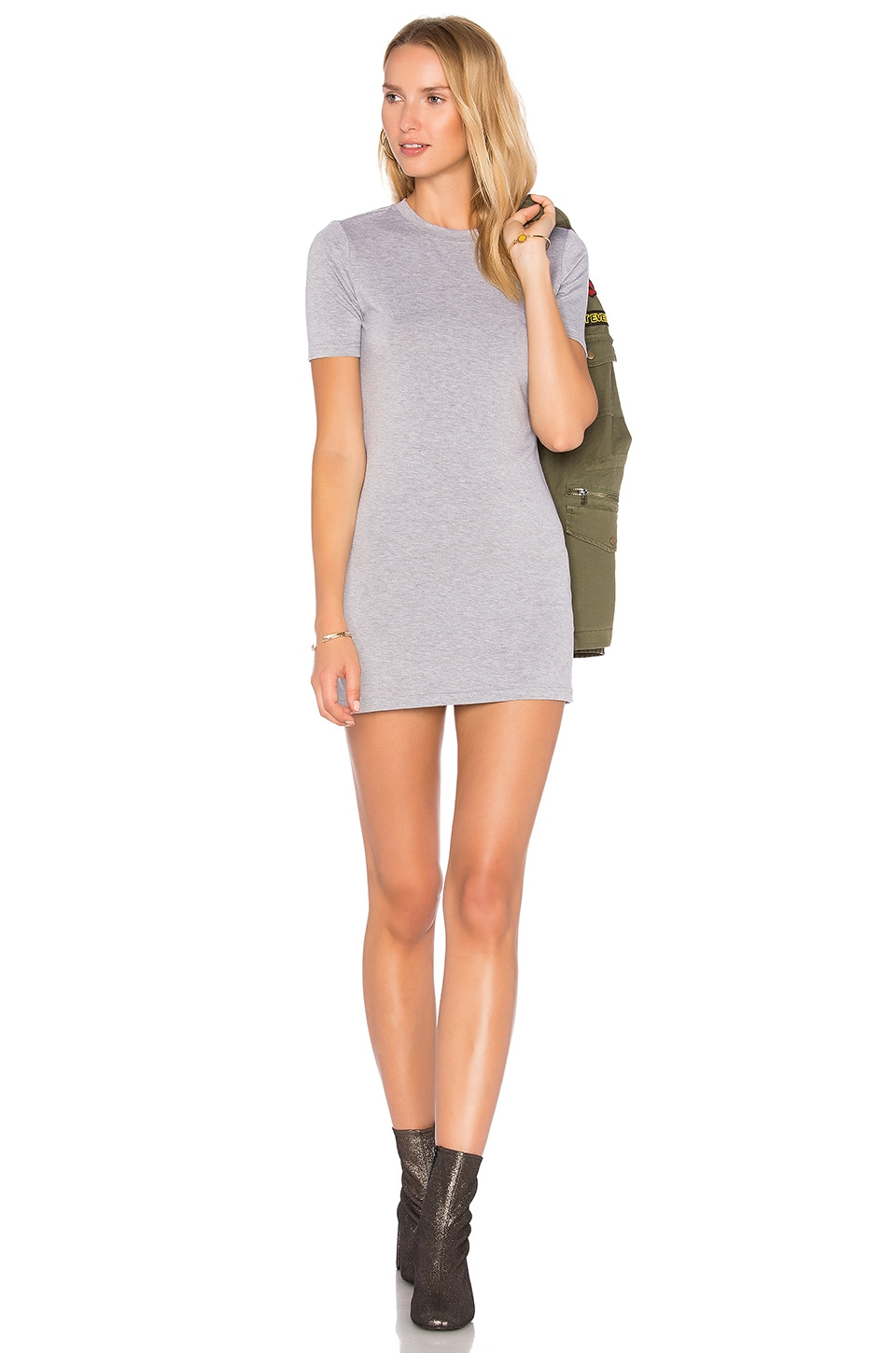 BLQ BASIQ Tee Dress in Heather Gray