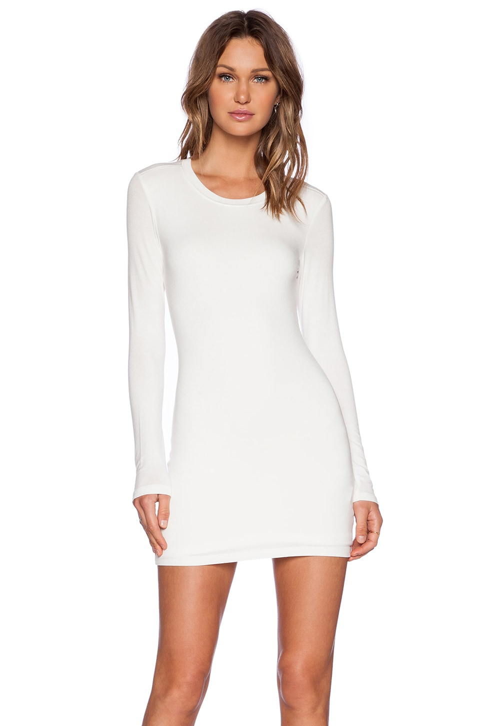 BLQ BASIQ Longsleeve Mini Dress in White | REVOLVE