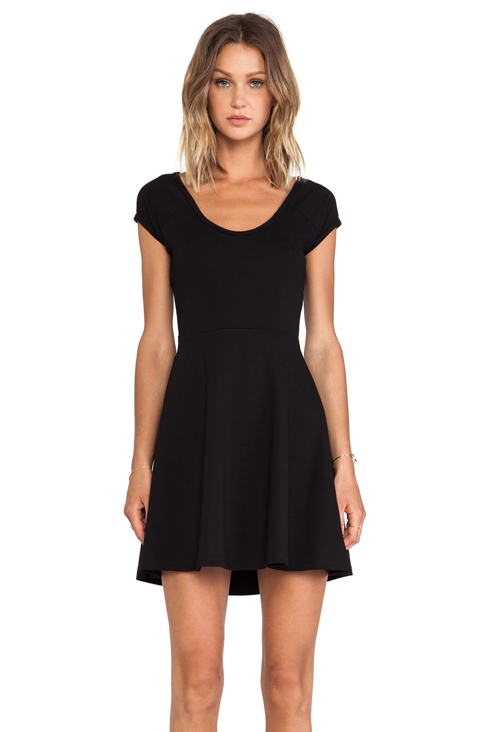 BLQ BASIQ BLQ Basics Cut Out Back Short Sleeve Dress in Black
