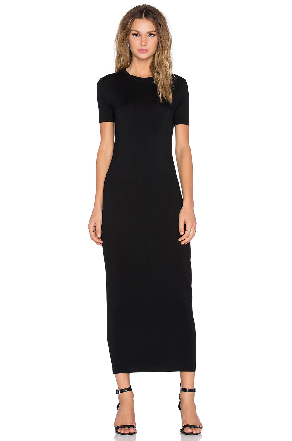 BLQ BASIQ Maxi T-Shirt Dress in Black | REVOLVE