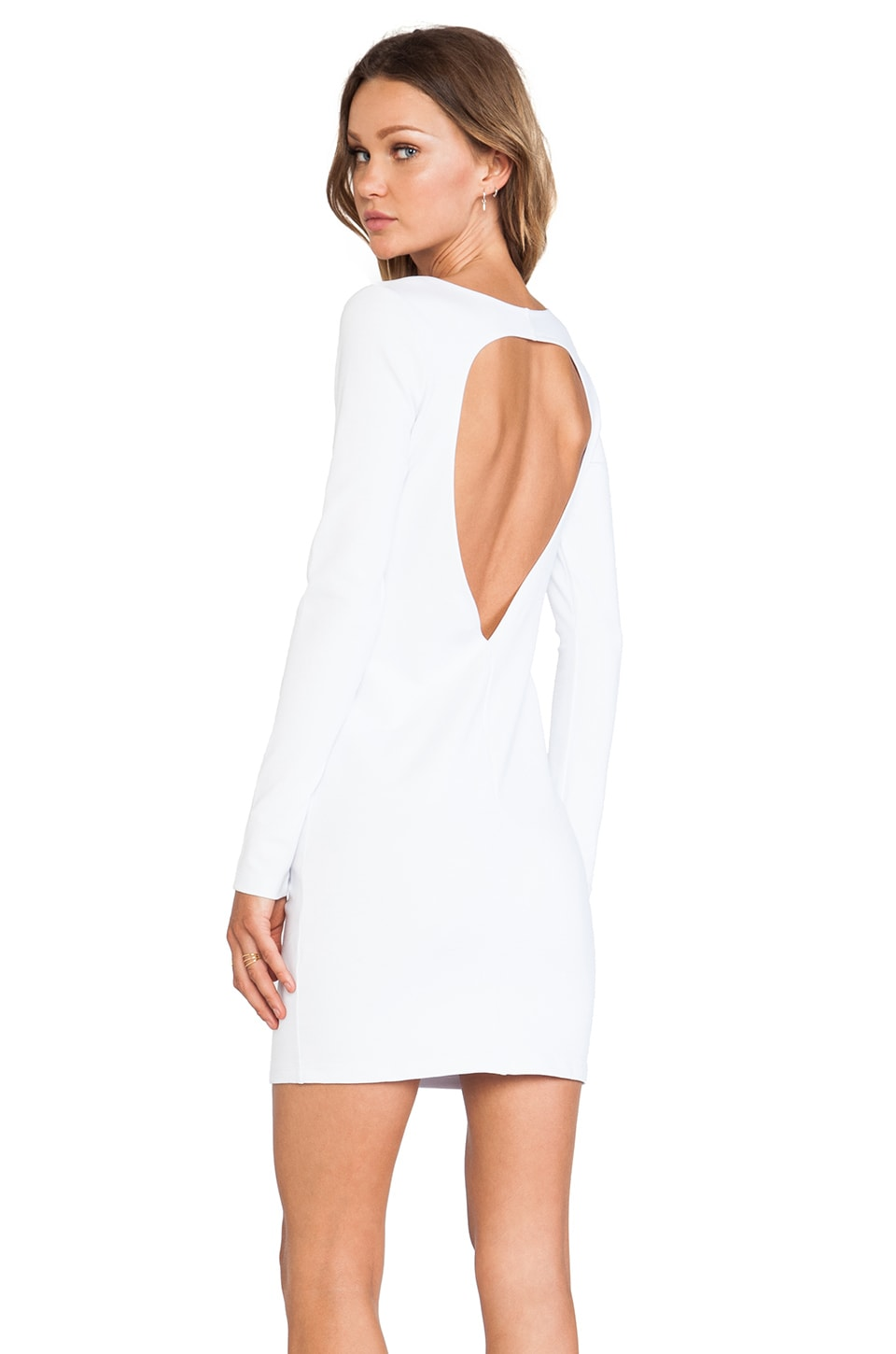 BLQ BASIQ BLQ Basics Cut Out Back Long Sleeve Dress in White