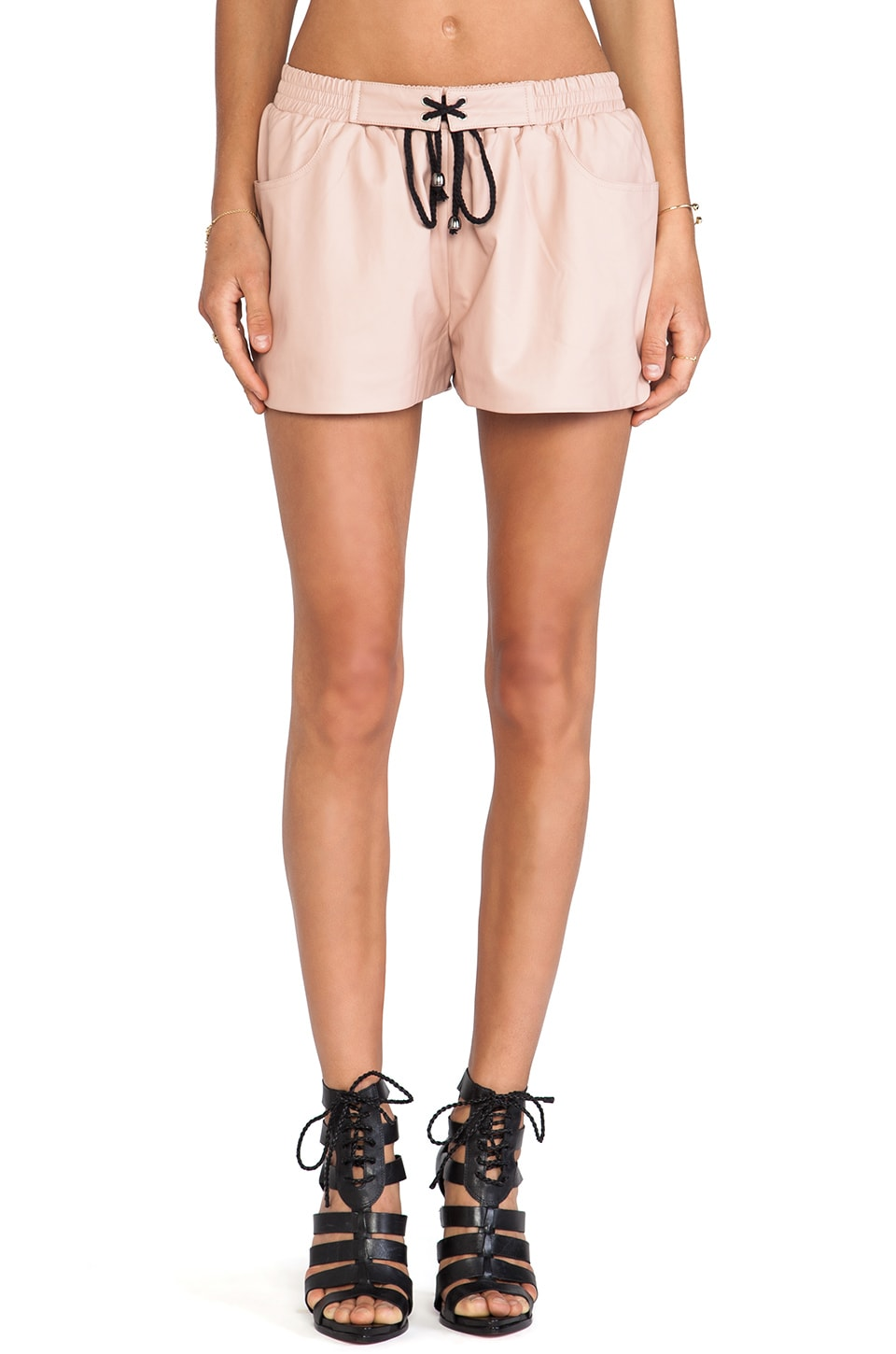 BLQ BASIQ BLQ Basics Faux Leather Shorts in Nude