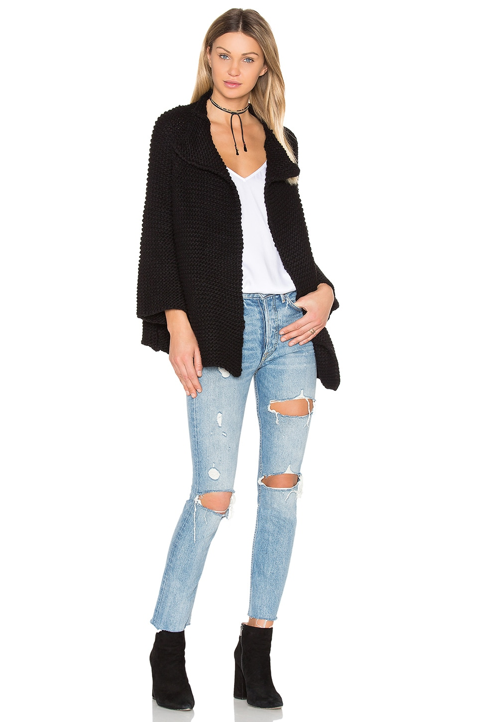 BLQ BASIQ Oversize Knit Cardigan Sweater in Black