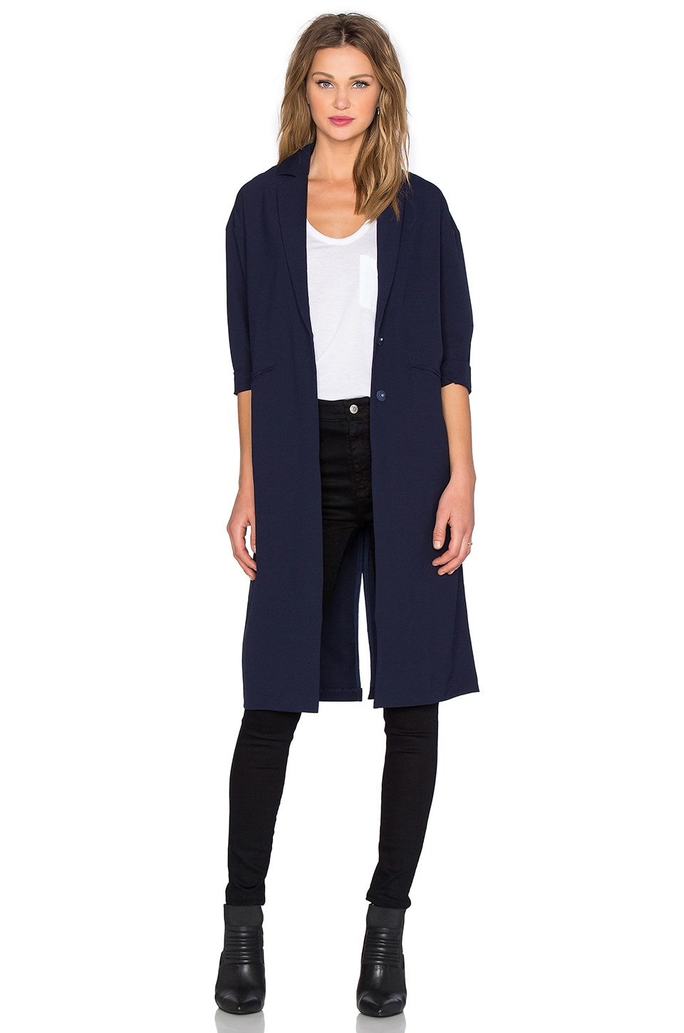 BLQ BASIQ Duster Coat in Navy