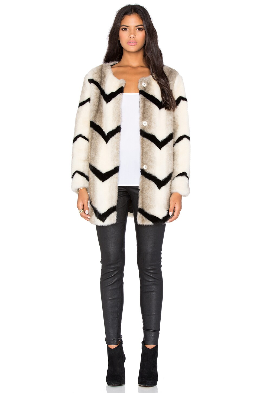 BLQ BASIQ Faux Fur Jacket in Cream