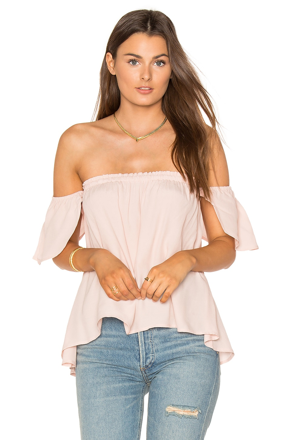 BLQ BASIQ Bare Shoulder Top in Pale Blush