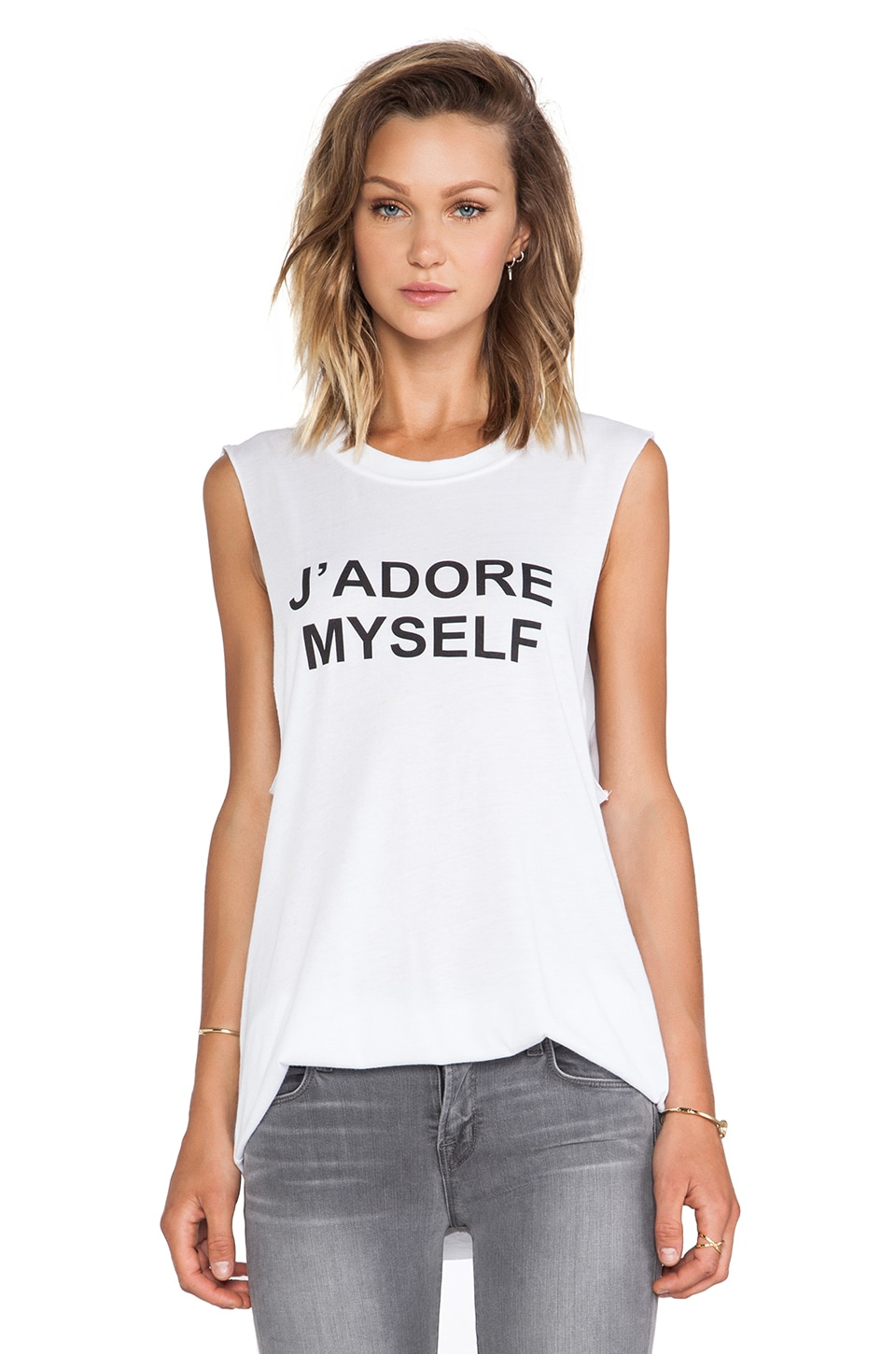 BLQ BASIQ BLQ Basics J' Adore My Self Graphic Tank in White