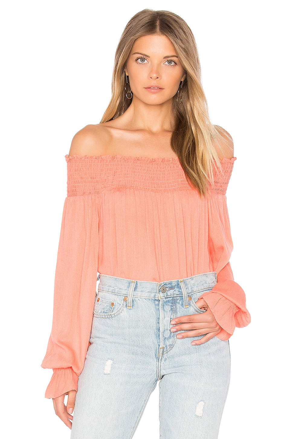 Off Shoulder Long Sleeve Top by Blq Basiq