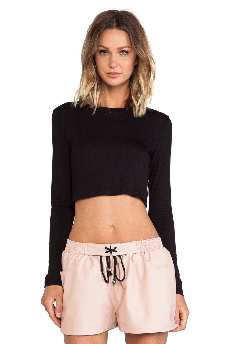 BLQ BASIQ BLQ Basics Cropped Long Sleeve Top in Black