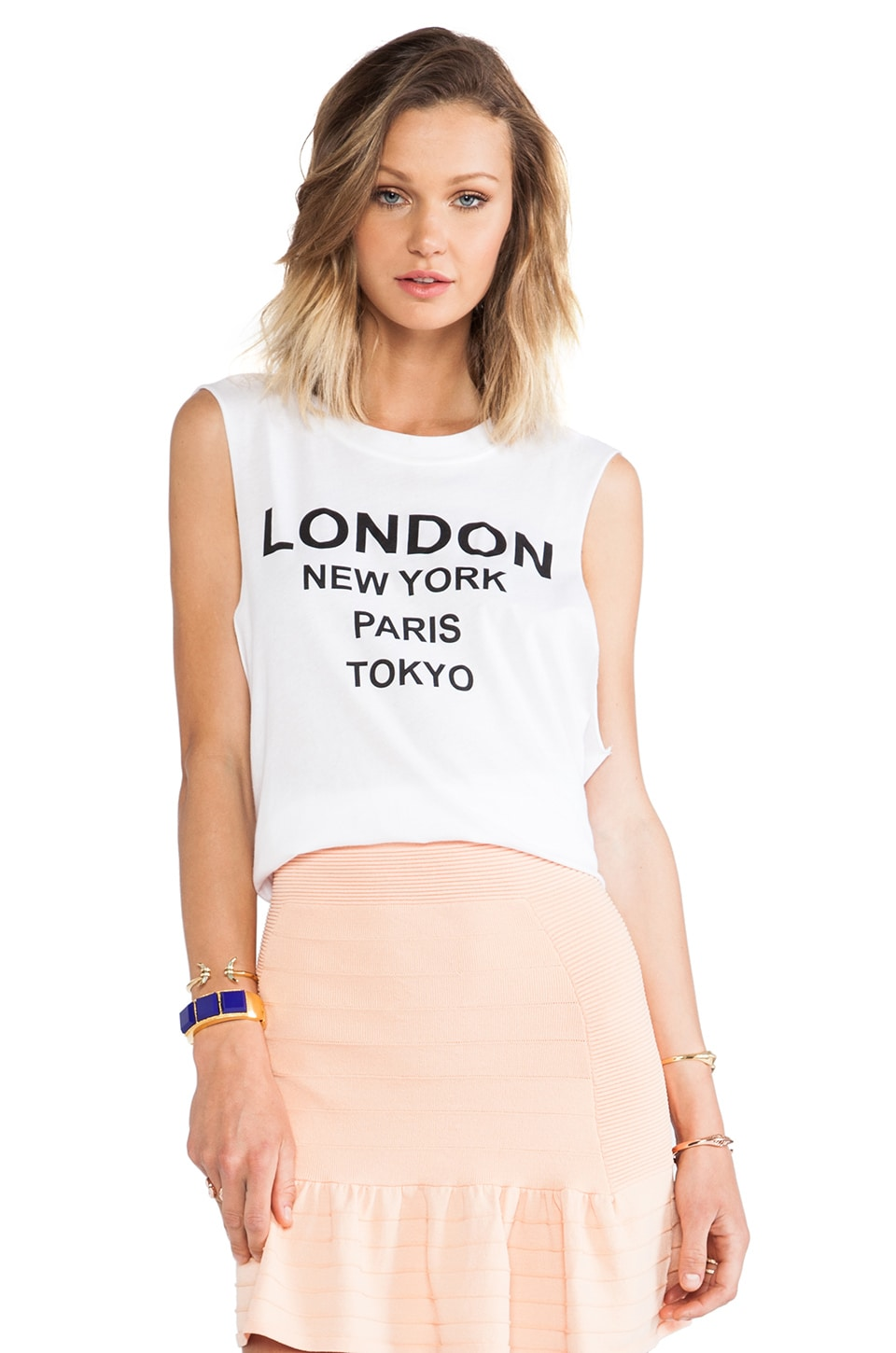 BLQ BASIQ London New York Muscle Tee in White