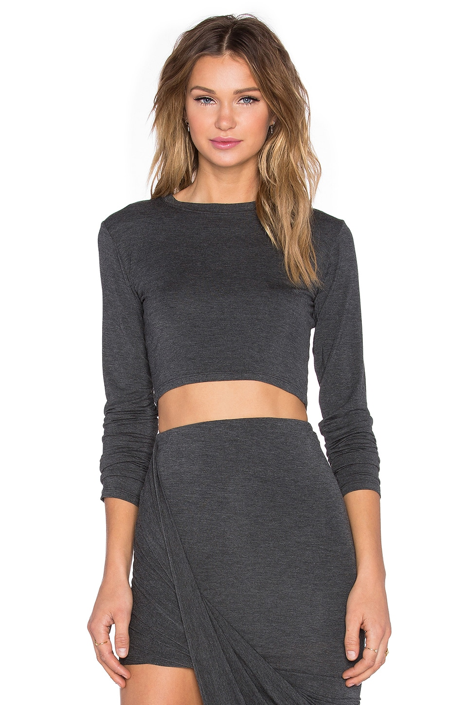 BLQ BASIQ Long Sleeve Crop Top in Charcoal