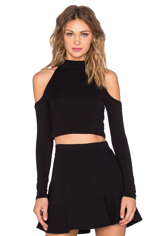BLQ BASIQ Open Shoulder Crop Top in Black