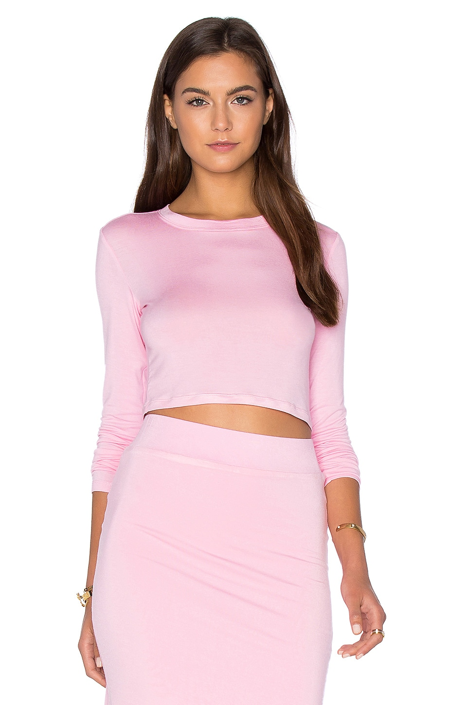 BLQ BASIQ x REVOLVE Long Sleeve Crop Top in Petal Pink