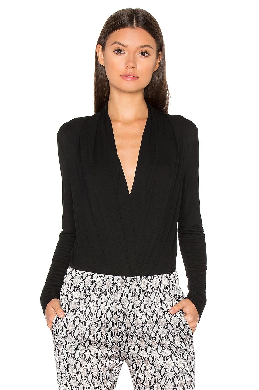 BLQ BASIQ Ruching Long Sleeve Bodysuit in Black