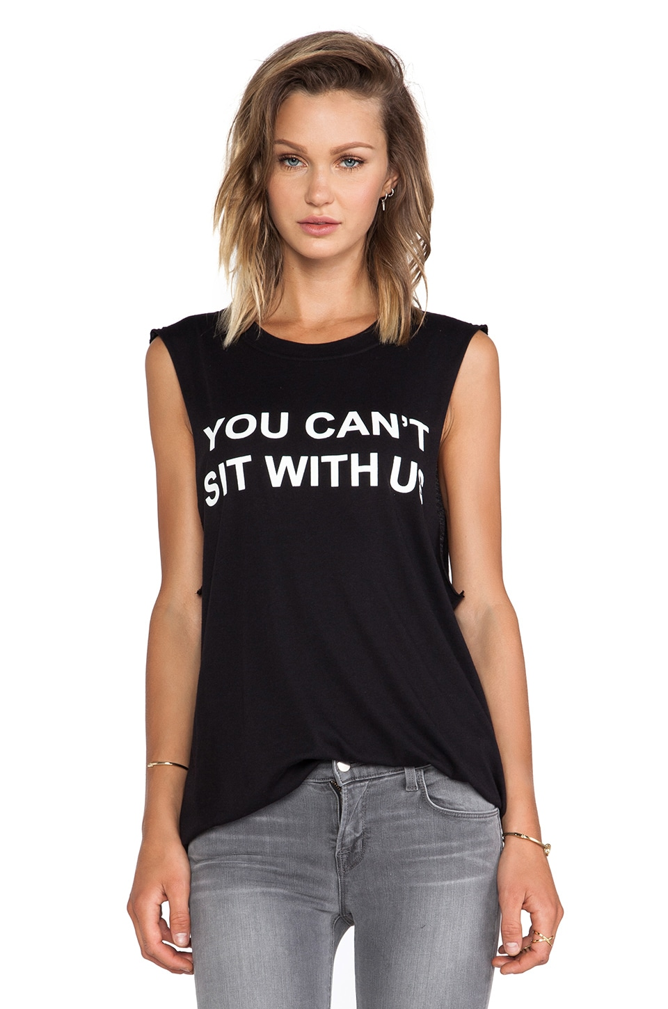 BLQ BASIQ BLQ Basics You Can't Sit With Us Graphic Tank in Black