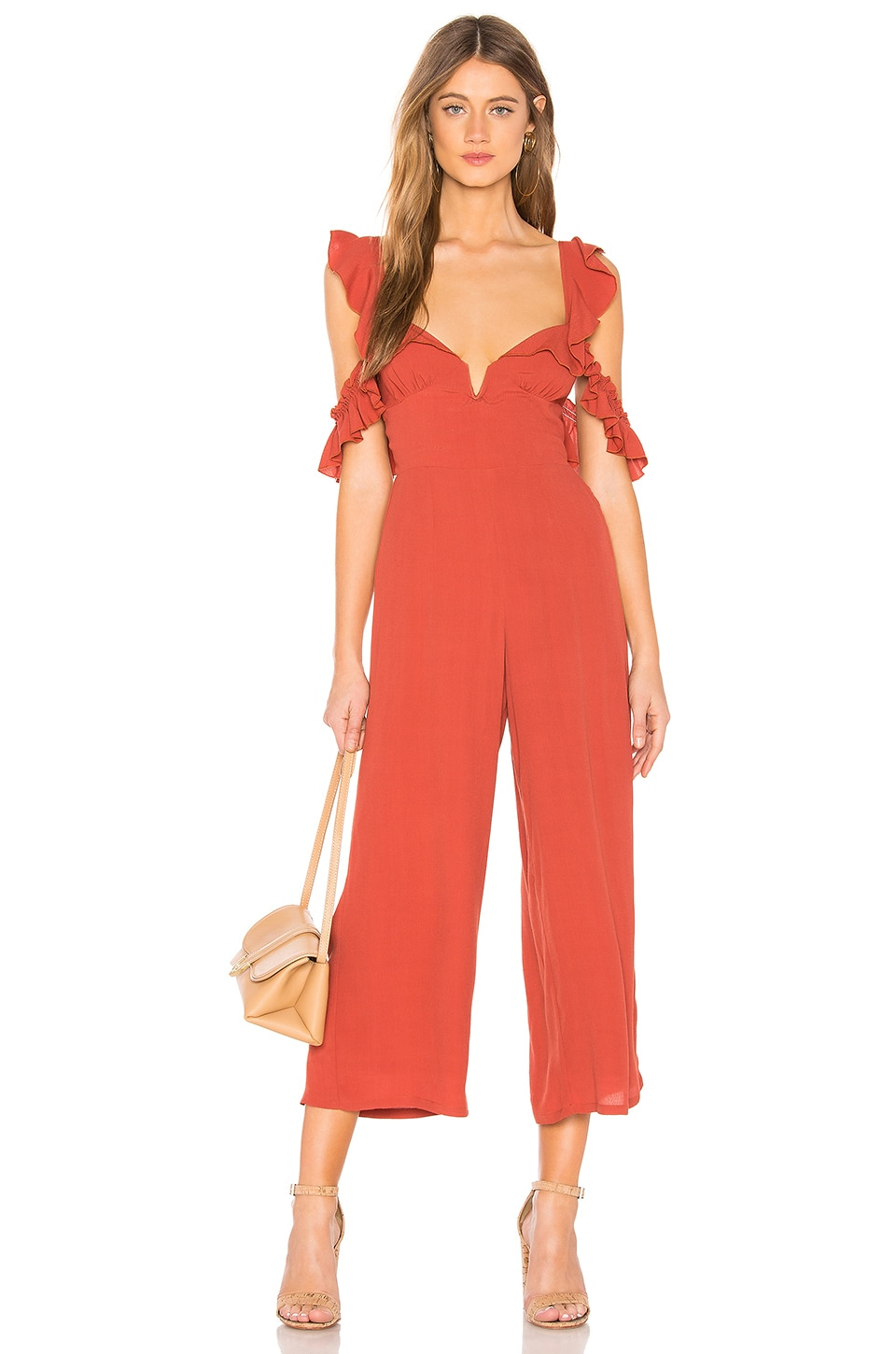 Blue Life Ruffle Sleeve Jumpsuit in Rust Crepe