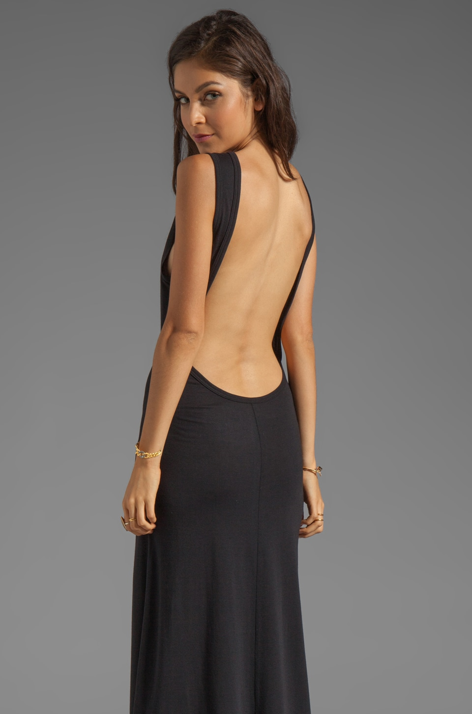 Blue Life Open Back Maxi Dress in Black