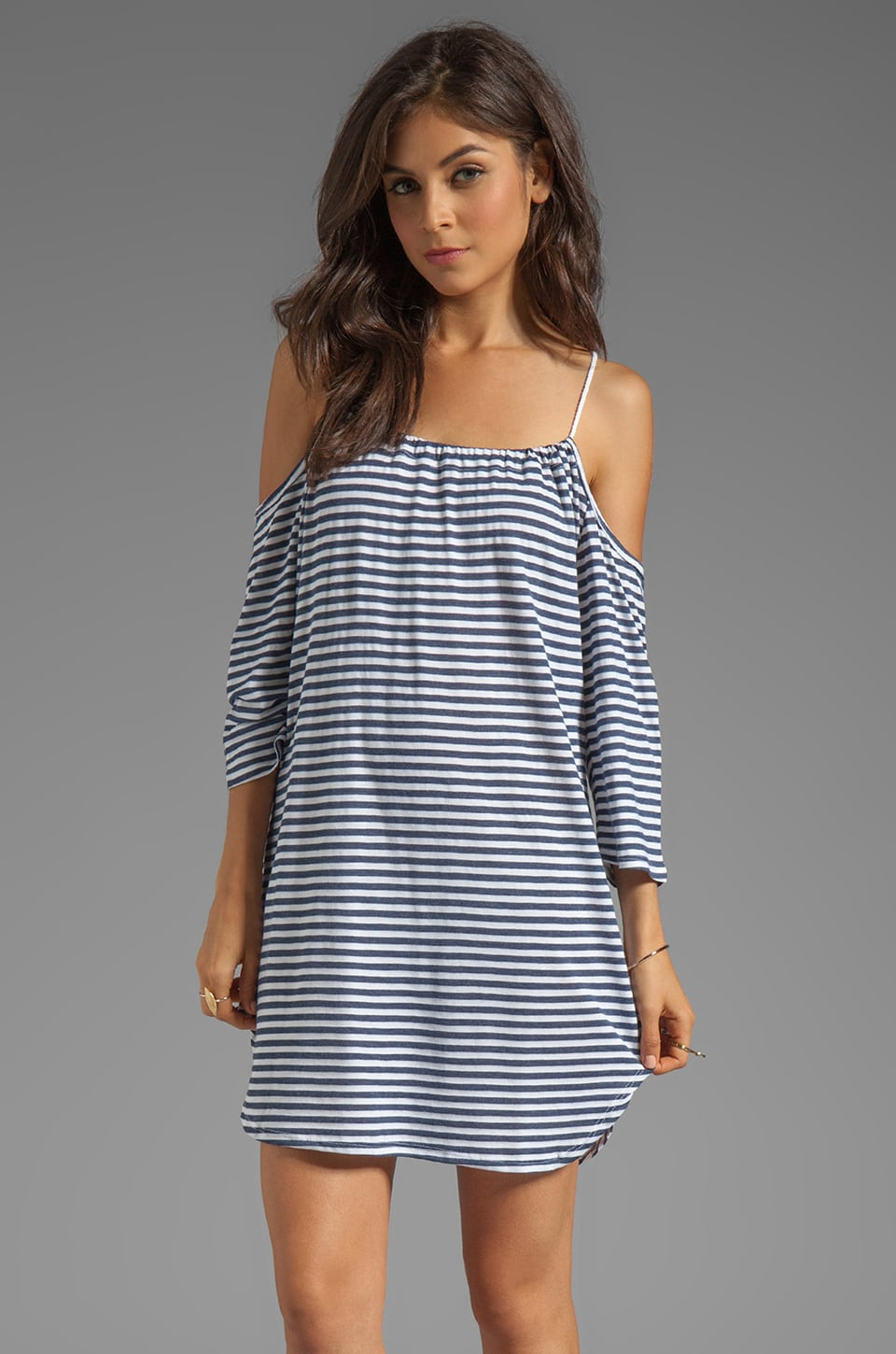 Blue Life Open Shoulder Dress Stripe in Heather Blue