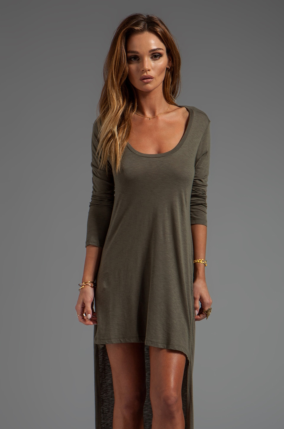 Blue Life Open Back High Low Dress in Military Green