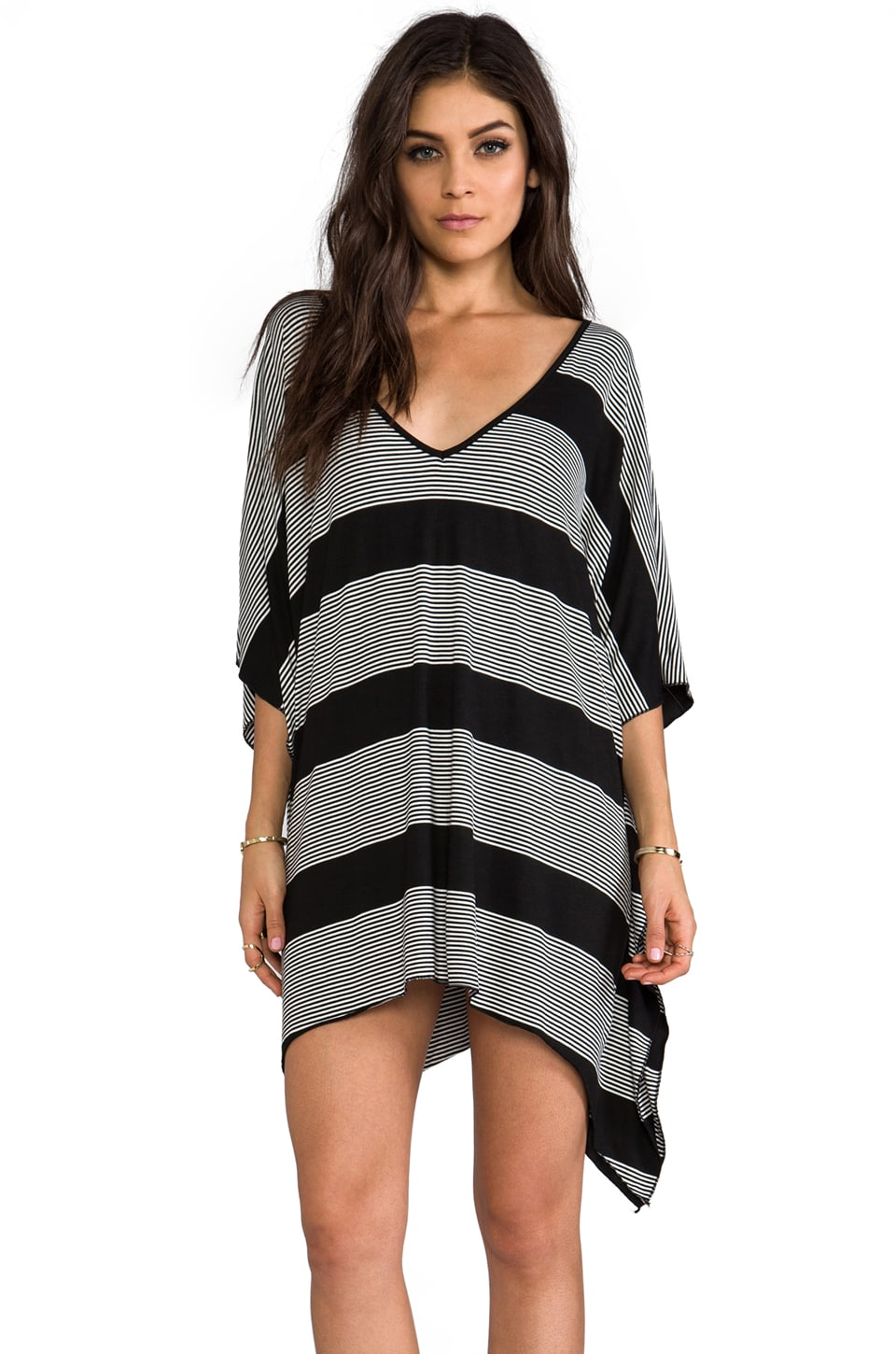 Blue Life V-Neck Cape Cool Dress in Black & White Stripe