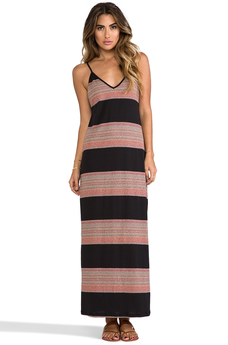 Blue Life Deep V Maxi Dress in Boho Stripe