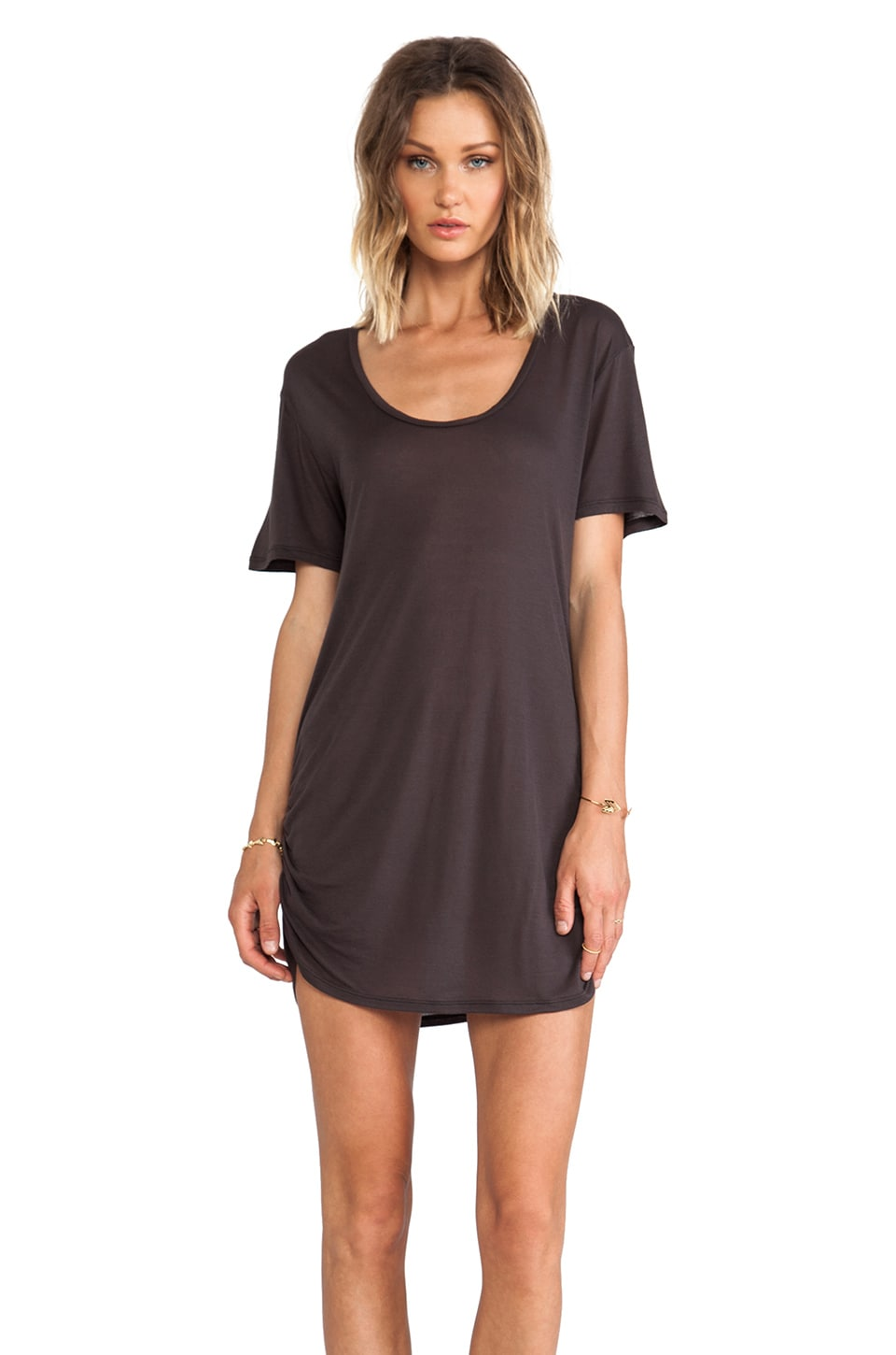 Blue Life Festival T-Shirt Dress in Faded Black