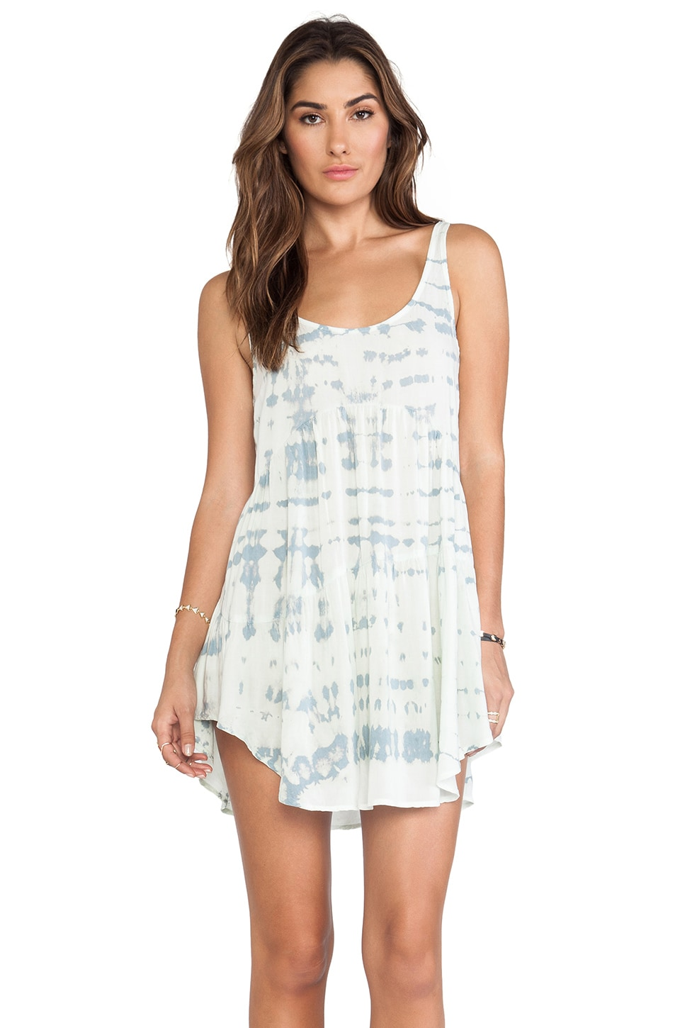 Blue Life Babydoll Tank Dress in Light Blue & White Ripple