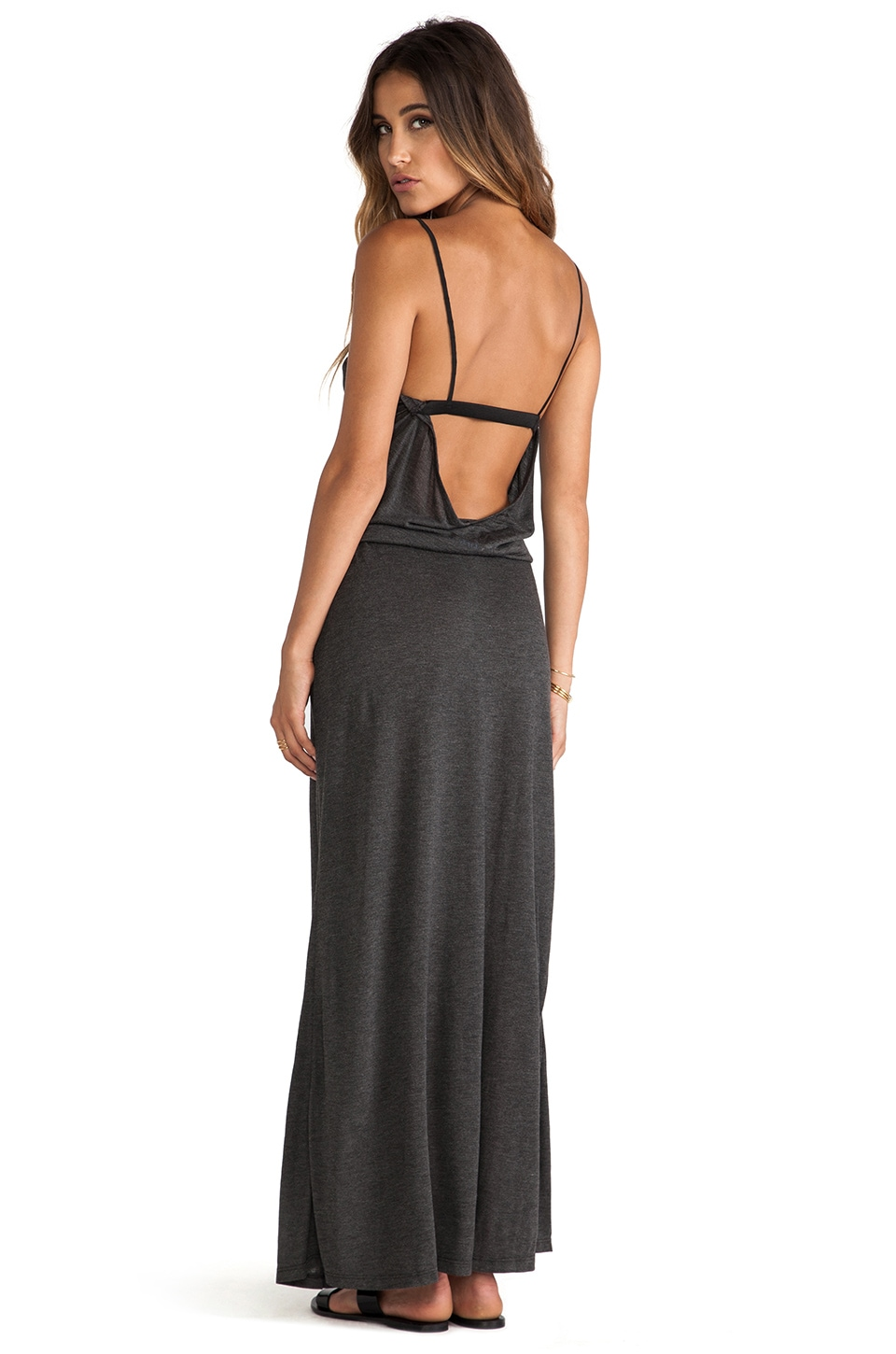 Blue Life Tie Me Up Maxi Dress in Steel Grey