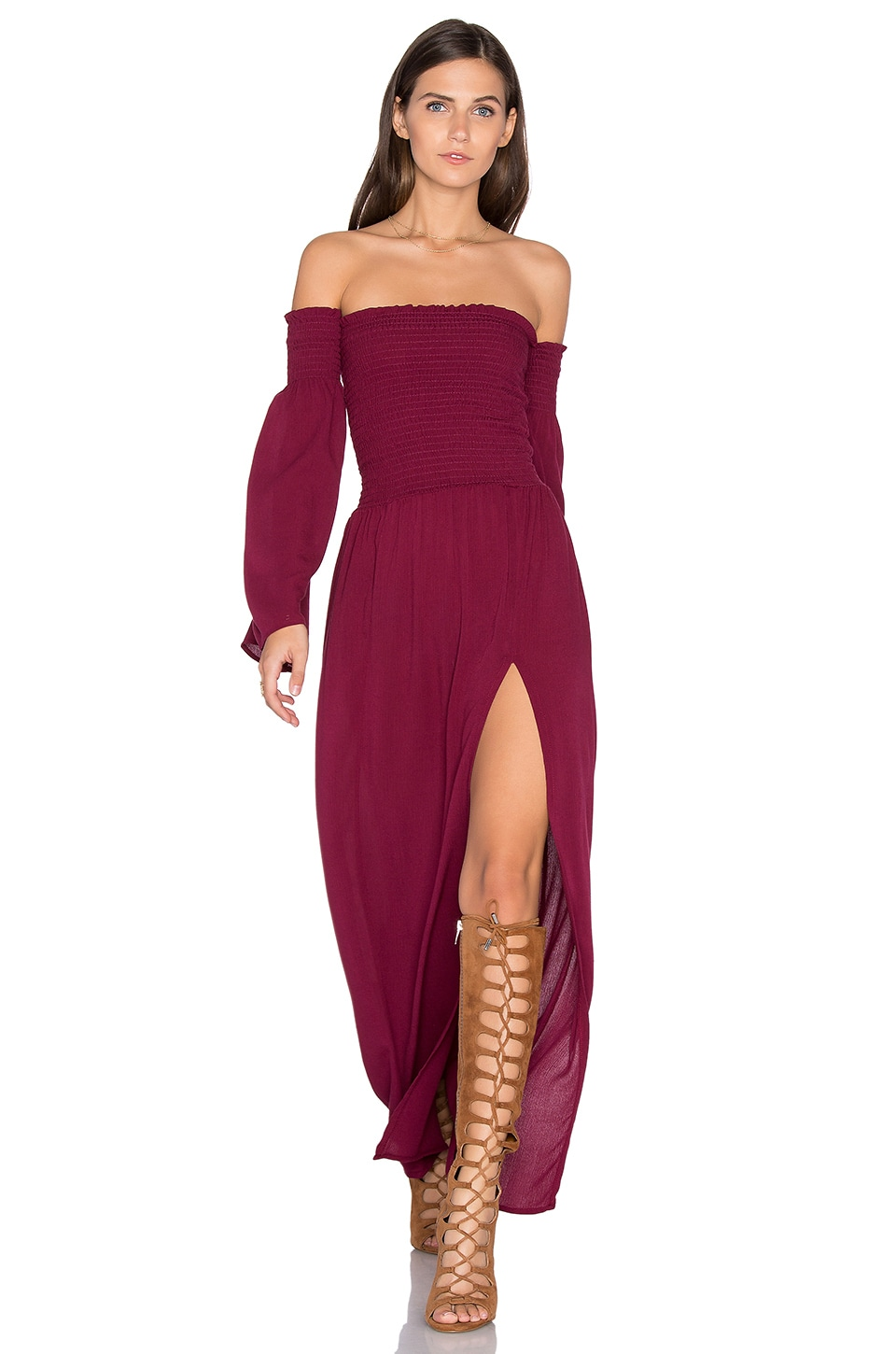 Blue Life Off Shoulder Maxi Dress in Plum