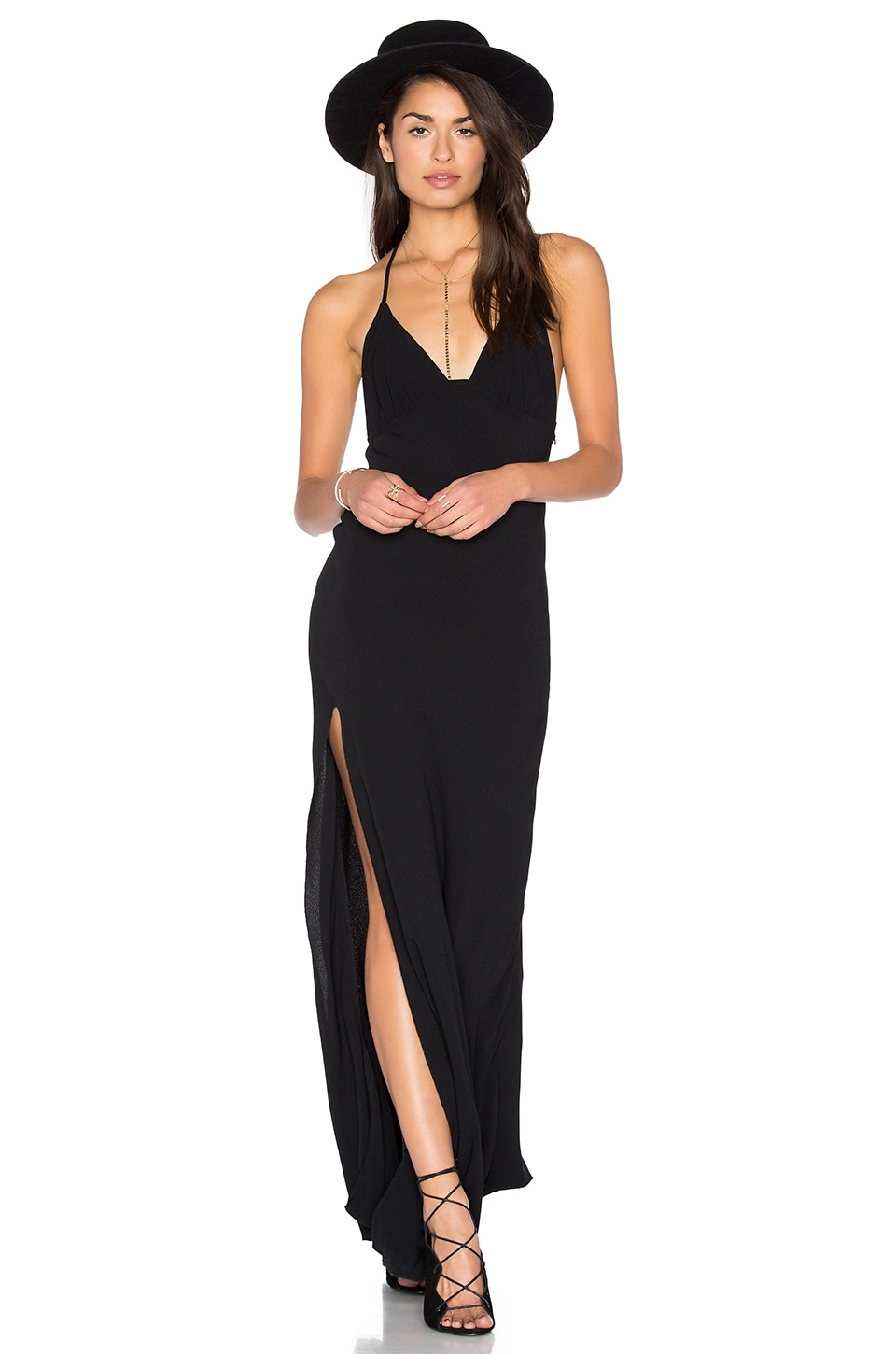 Blue Life One Slit Halter Maxi in Black