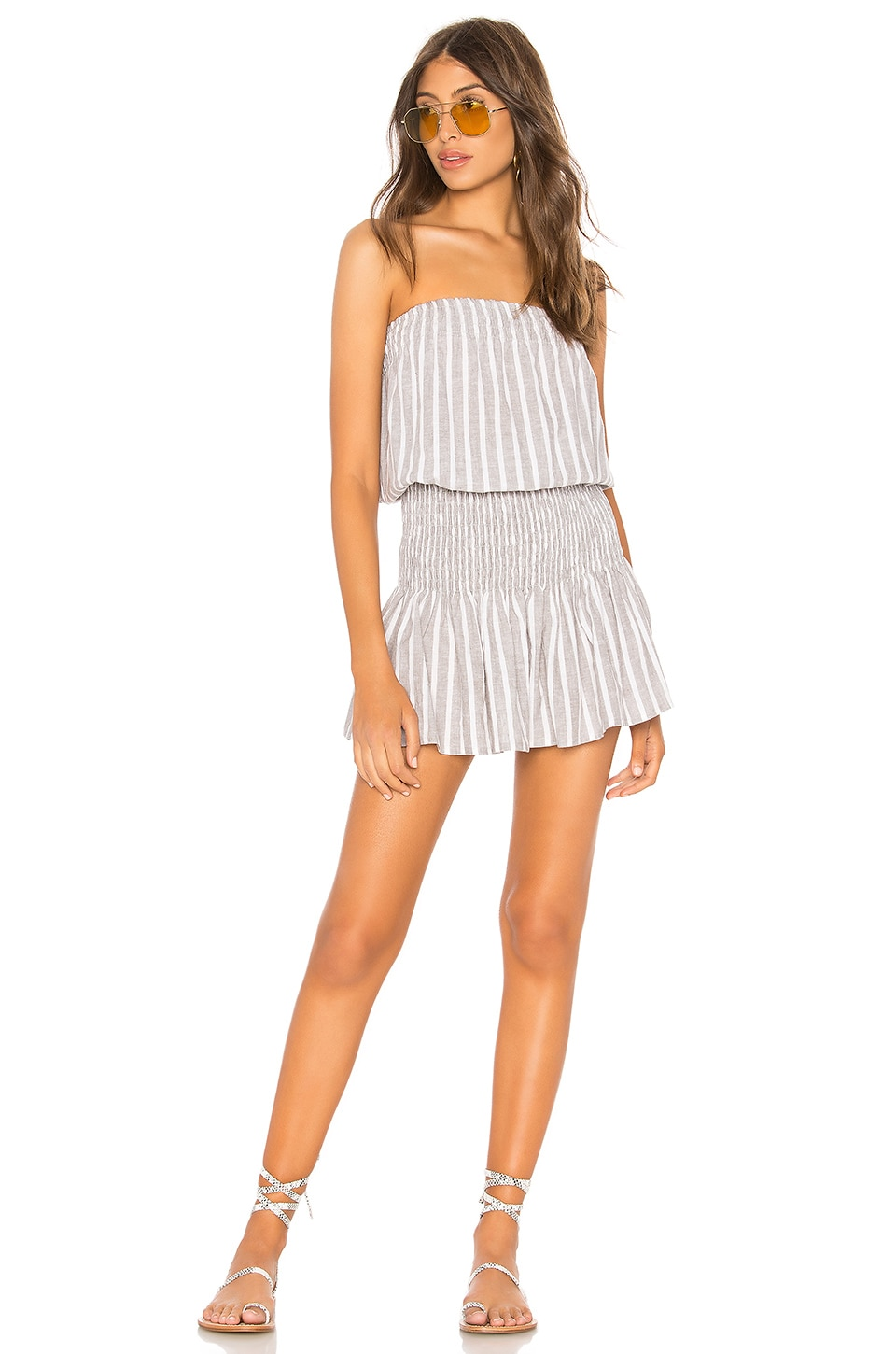 Blue Life Good Karma Mini Dress in Grey Linen Stripe