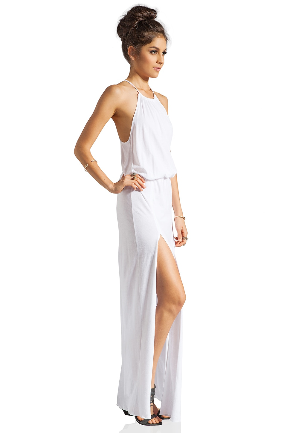 Blue Life Two Slit Halter Dress in White
