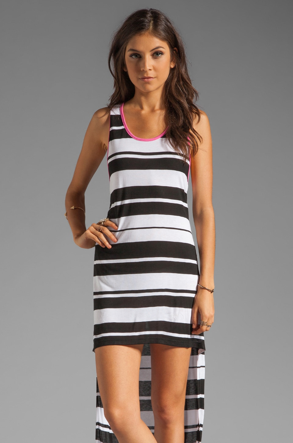 Blue Life Sleeveless Hi Lo Dress in Black/White Stripe