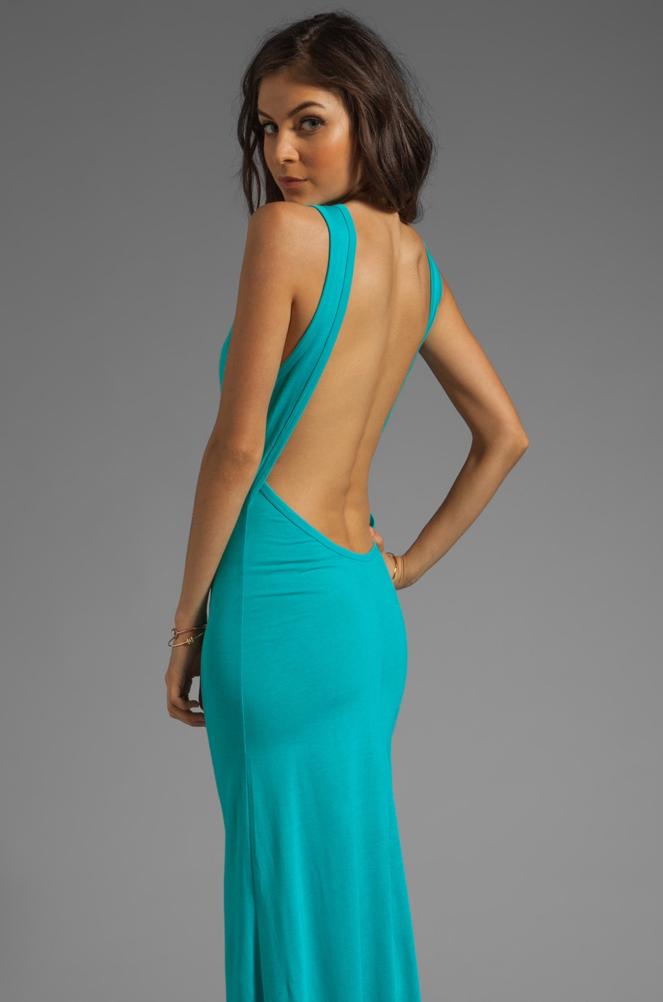 Blue Life Open Back Maxi in Jade